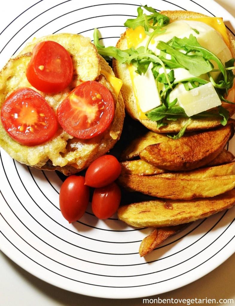 burger v g tarien le tempura cheese burger l aubergine mon bento v g tarien. Black Bedroom Furniture Sets. Home Design Ideas