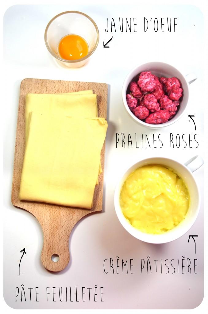 ingredients-recette-coeurs-feuilletés-praline-rose-crème-patissière