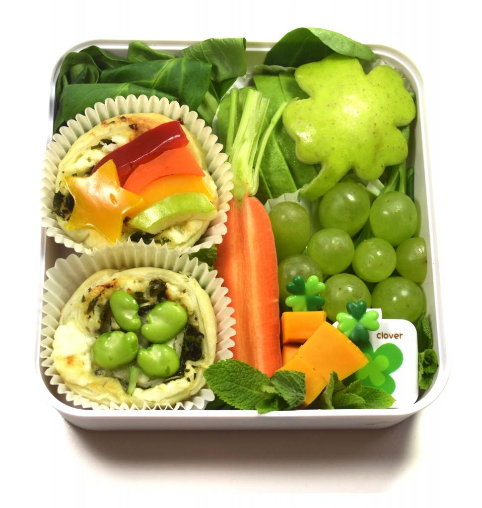 saint-patrick's-day-bento-vegetarien-arc-en-ciel-feuilleté-17-mars-vert-saint patrick