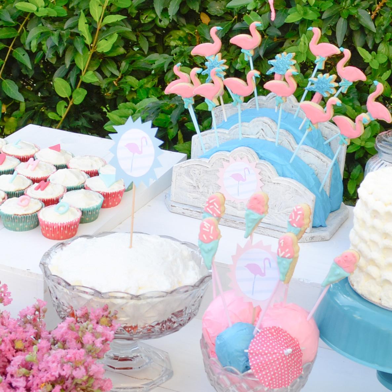 Flamingo birthday 4 etiquettes support cake pop et for Decoration e