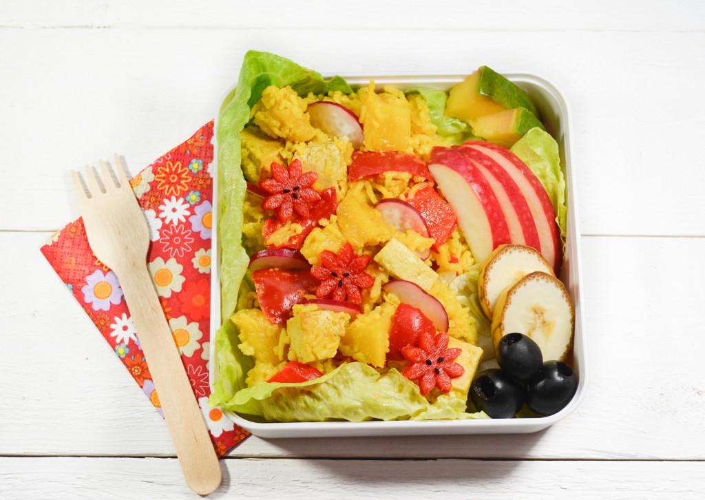 bento vegetarien tofu ananas riz safran poivron curcuma gingembre  - copie