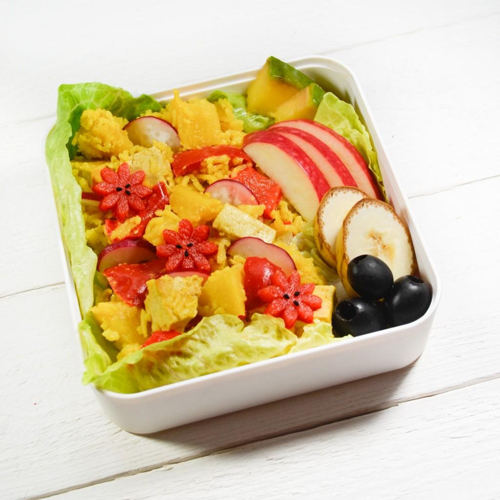 bento vegetarien tofu ananas riz safran poivron curcuma gingembre olive