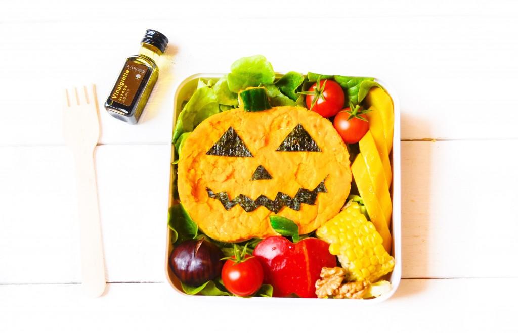 bento-vegetarien-halloween-citrouille-jacko-lanterne-tarte-potimarron-chevre-frais-patate-douce