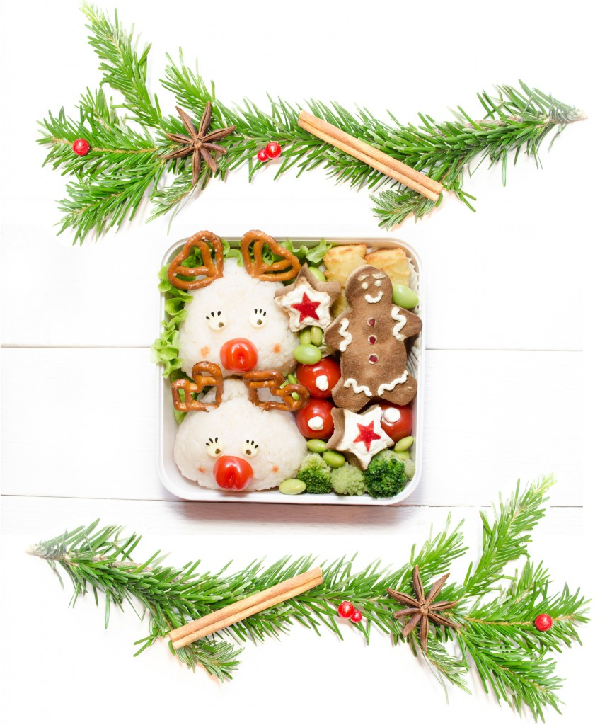 bento rudolphe renne du père noel onigiri bonhomme pain d'epice salé tofu noel