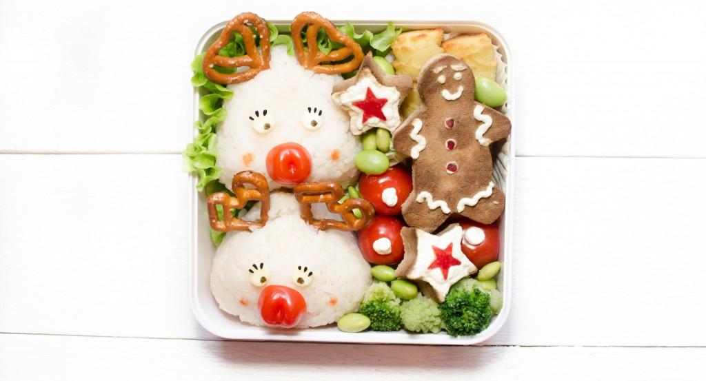 bento rudolphe renne du père noel onigiri bonhomme pain d'epice salé tofu
